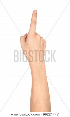 Human Hand Pointing Or Touching Screen Isolated On White Background