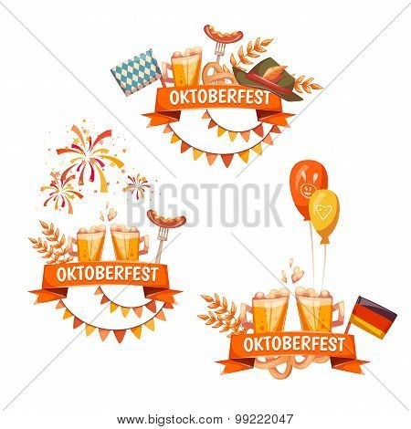 Banners for Oktoberfest celebration. Beer and ribbons. Vector illustrations