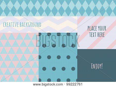 Vector Flat Creative Color Blocking Background. Pastel Colours Geometric Pattern.