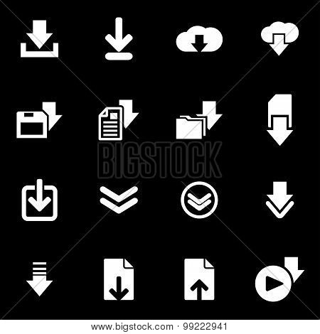 Vector white download  icon set