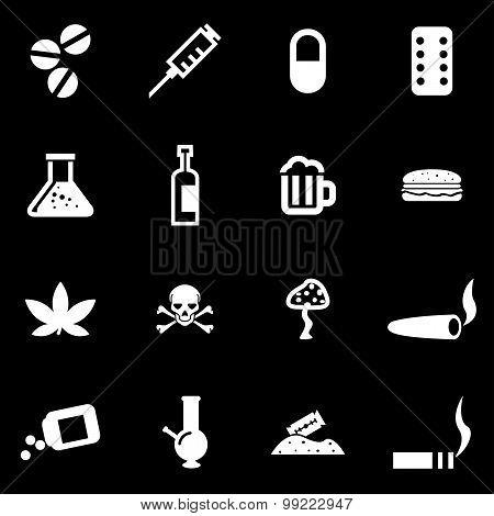 Vector white drugs  icon set