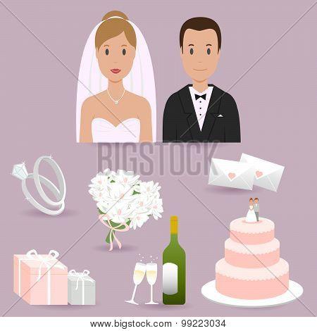Bride, groom and wedding elements