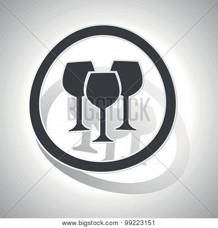 Wine glass sign sticker, curved