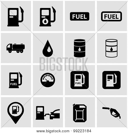 Vector black gas station icon set