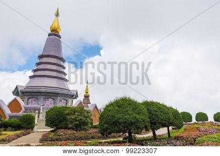 Pagoda at Doi Inthanon national park after rain. Chiang Mai ,Thailand.