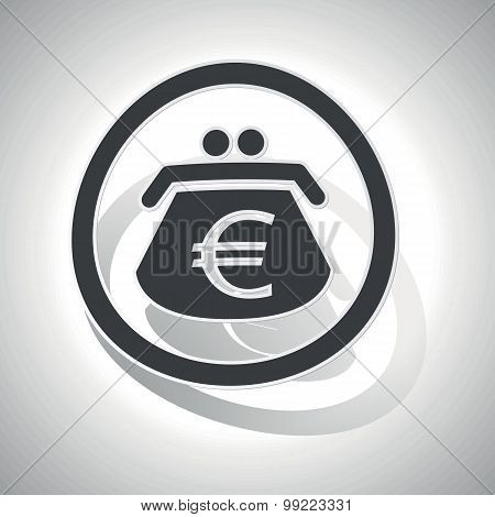 Euro purse sign sticker, curved