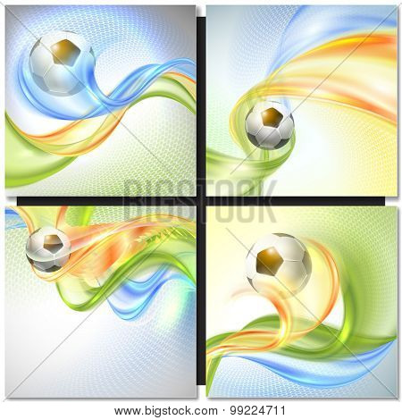 Soccer Vector Design. Abstract wave colorful background