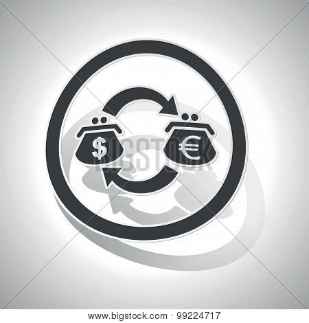 Dollar-euro trade sign sticker, curved