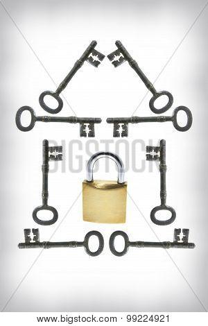Padlock And Skeleton Keys