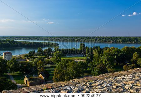 View from Kalemegdan fortress to confluence of Danube and Sava river, Belgrade