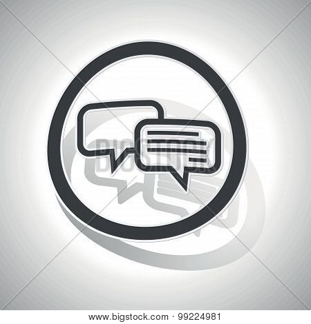 Chatting sign sticker, curved