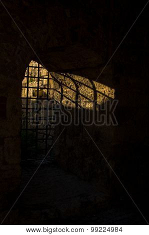 Sunlight through the dungeon bars at Kalemegdan fortress, Belgrade