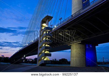 Cable bridge over Sava river at twilight, Belgrade