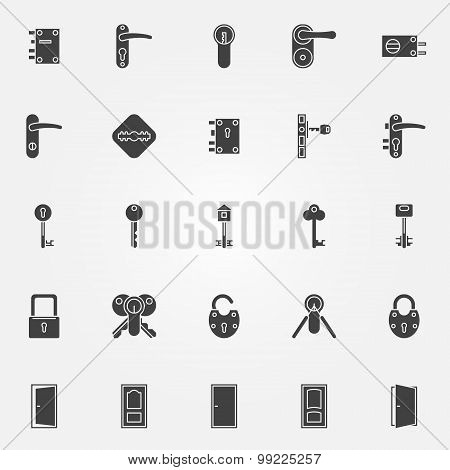 Door lock icons set
