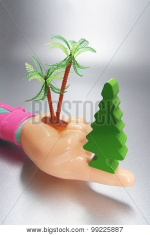 Plastic Hand With Miniature Trees