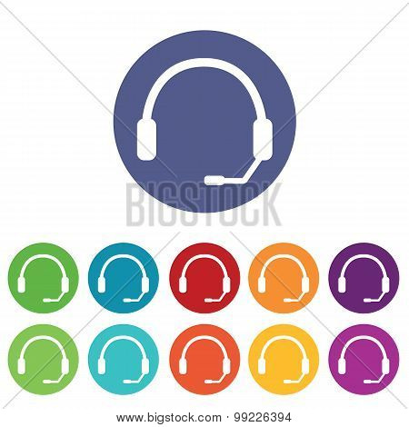 Headset icons colored set