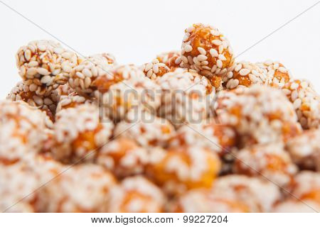 Roasted Peanuts Coated With Sugar And Sesame.