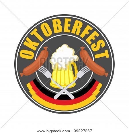 Oktoberfest Logo - Traditional Annual  Beer Festival In Germany. Mug Of Beer And Sausage With Fork I