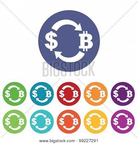Dollar-bitcoin exchange icons colored set
