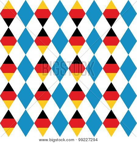 Oktoberfest Seamless Pattern Of Blue Rhombus. German Flag In Form Of A Rhombus. Vector Background Fo