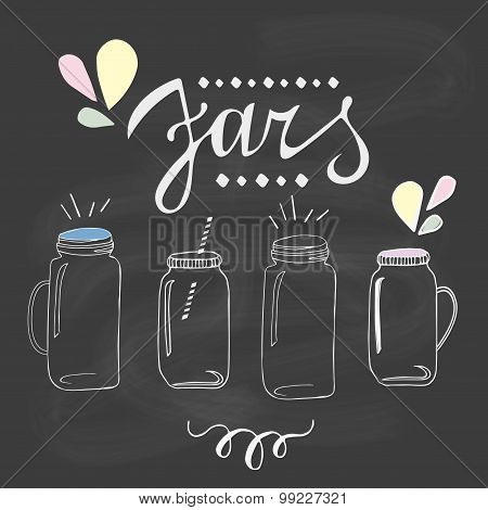 Jars set. Hand drawn sketch illustration.