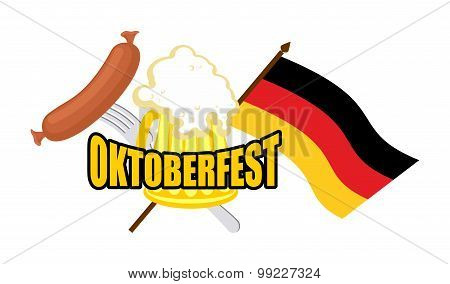 Beer Mug And Flag Of Germany - Symbol Oktoberfest. Vector Illustration