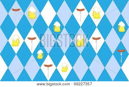 Traditional Oktoberfest Seamless Pattern Of Rhombus. Mug Of Beer And Sausage. Vector Background For