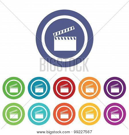 Clapperboard signs colored set