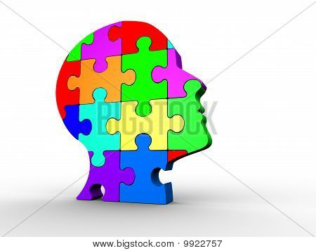 Human Head Made Of Puzzle