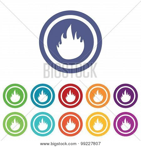 Fire signs colored set