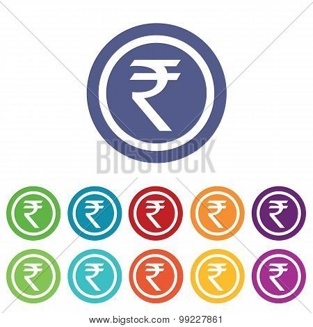 Indian rupee signs colored set