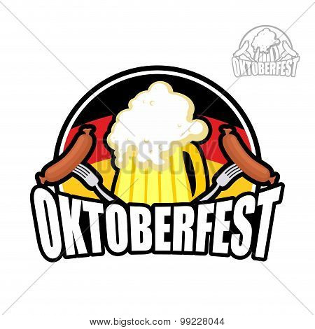 Beer Festival Oktoberfest In Germany. Beer Mug On Background Of German Flag. And Sausage With Fork.