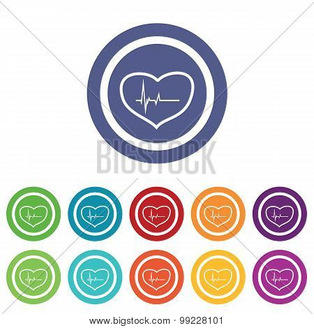 Cardiology signs colored set