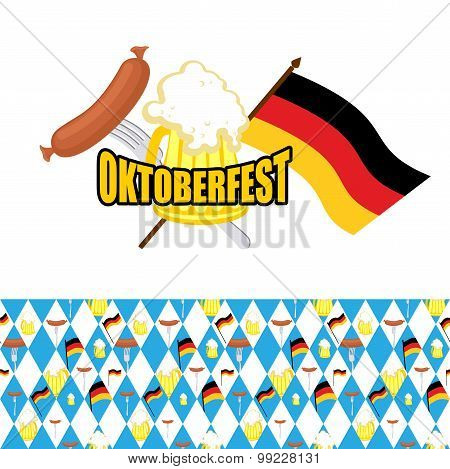 Set For Oktoberfest. Logo And Pattern Of Rhombus. Beer And Sausages, Flag Of Germany.