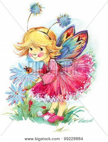 Funny children Fairy background. watercolor drawing