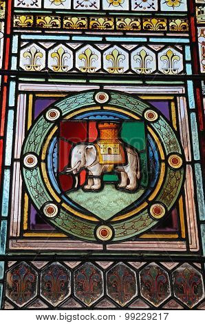 Elephant and castle stained glass window.