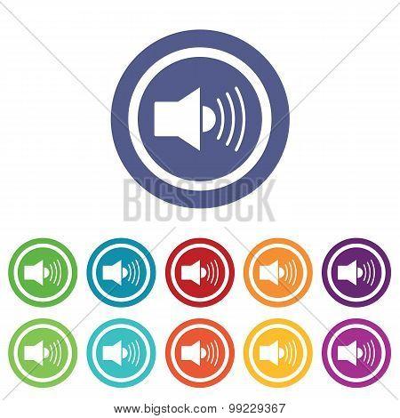 Loudspeaker signs colored set