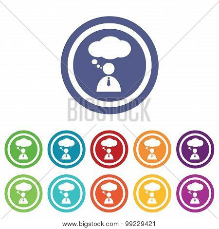 Thinking person signs colored set