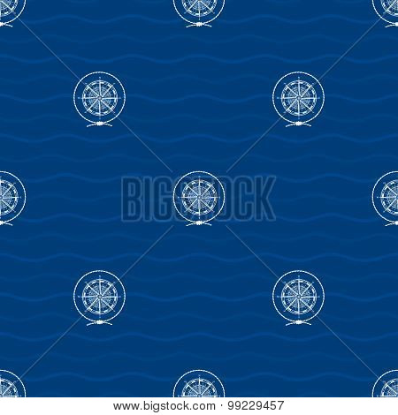 Seamless Pattern With Compass Rose