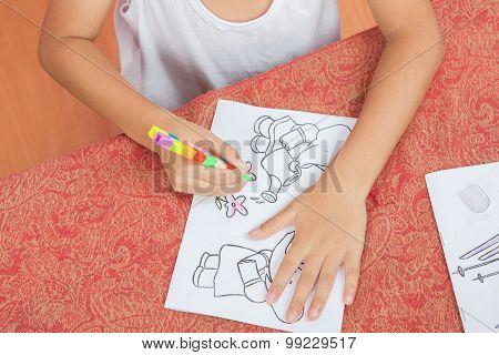 Asian Boy Sitting Coloring Homework Teachers Assign.