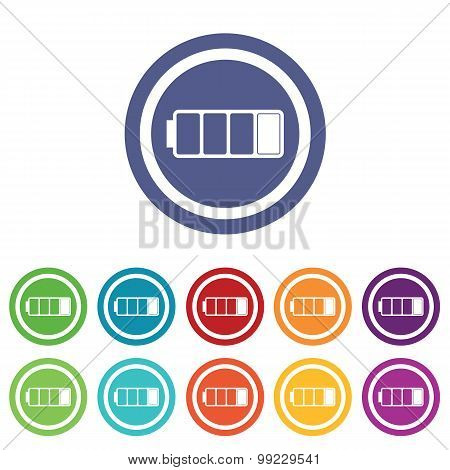 Low battery signs colored set