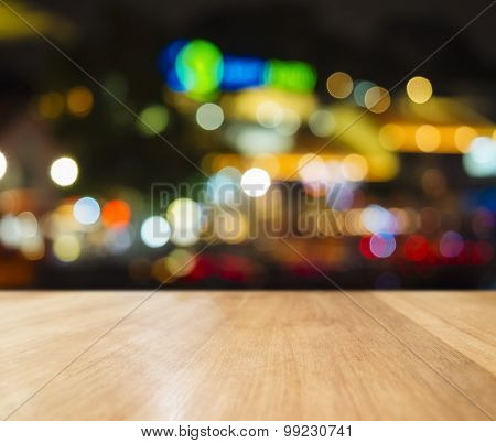 Table Top Bar Counter Colourful Lighting Abstract Background