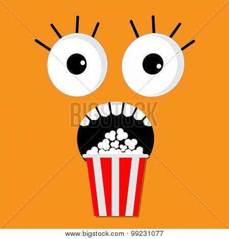 Scary Face Emotions Boo Popcorn. Cinema Icon In Flat Design Style. Movie Background