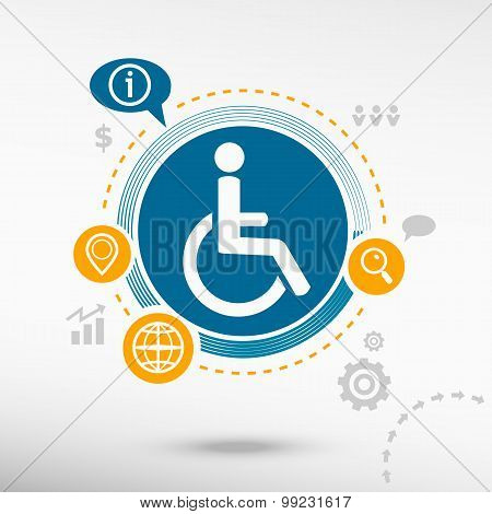 Disabled Handicap Icon And Creative Design Elements