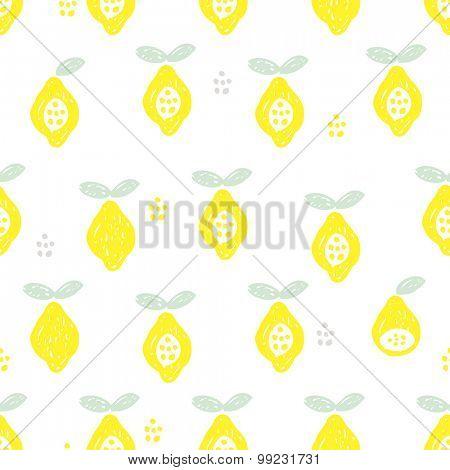 Seamless citrus lemon summer fruit illustration background pattern in vector