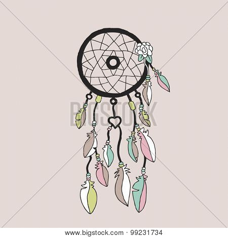 Sweet bohemian Indian summer dream catcher illustration with flowers and feathers poster cover template design in vector