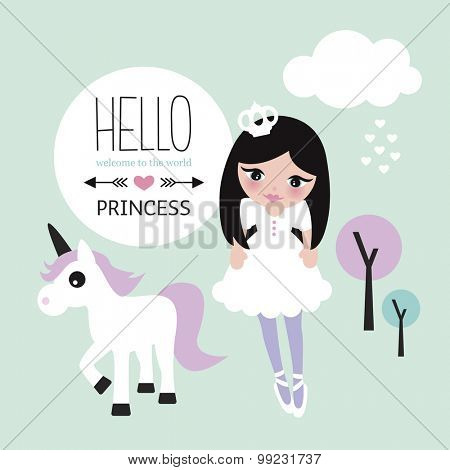 Hello little princess cute little new born baby announcement with girl crown cloud love and unicorn illustration background in vector