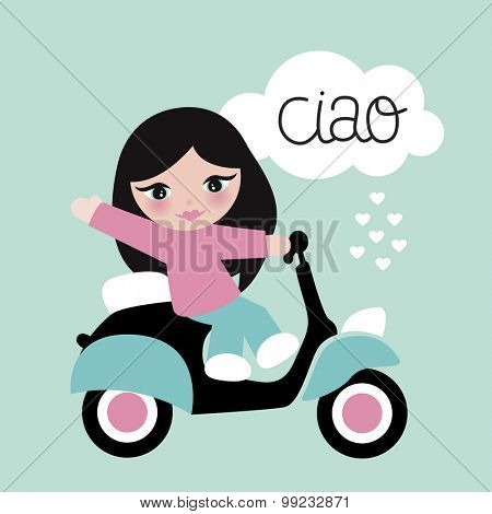 Sweet Italian girl with black hair waving ciao kids poster design illustration with cloud and lettering template in vector