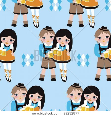 Seamless oktoberfest couple in lederhosen and dirndl traditional bayern dress cute german beer party illustration background pattern in vector