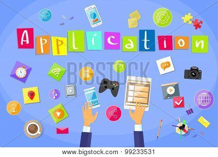 Application Development Concept Mobile Smart Phone Tablet